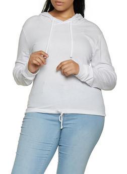 Plus Size Hooded Drawstring Hem Top - 3917033873355