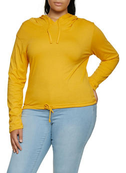 Plus Size Hooded Drawstring Hem Top - 3917033873355