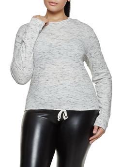 Plus Size Drawstring Hem Long Sleeve Tee - 3917033873357