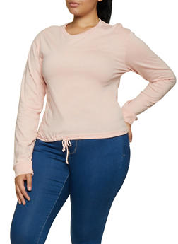 Plus Size Drawstring Hem Long Sleeve Tee - 3917033873357
