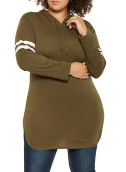 Plus Size Varsity Stripe Tunic Top - 3917033875111