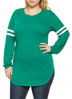 Plus Size Varsity Stripe Tunic Tee - 3917033878115