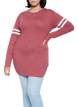 Plus Size Varsity Stripe Tunic Tee - 3917033878115