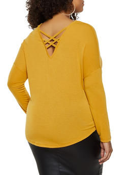 Plus Size Caged Back Top - 3917038344184