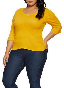 Plus Size Ribbed V Neck Top | 3917038344280 - 3917038344280