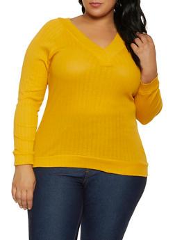 Plus Size Rib Knit V Neck Top - 3917038344281