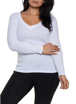 Plus Size Ribbed V Neck Tee - 3917038344292