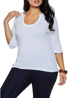 Plus Size Ribbed Knit Top - 3917038344293