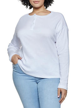 Plus Size Half Button Long Sleeve Tee - 3917038344302