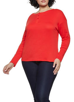 Plus Size Half Button Long Sleeve Tee - 3917038344302