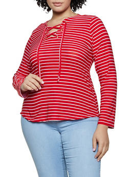 Plus Size Lace Up Striped Top - 3917038344323