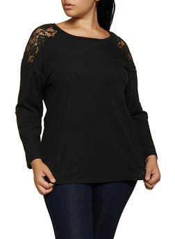 Plus Size Rib Knit Lace Yoke Top - 3917051067190