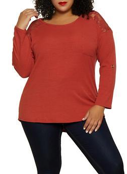 Plus Size Rib Knit Lace Yoke Top - 3917051067190