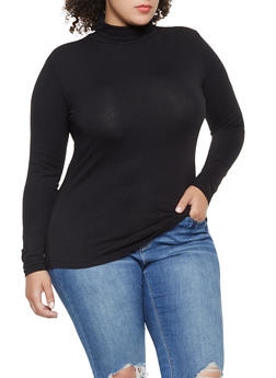 Plus Size Solid Turtleneck - 3917054260025