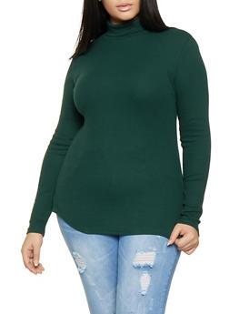 Plus Size Rib Knit Turtleneck - 3917054260033