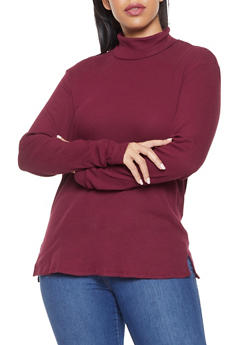 Plus Size Rib Knit Turtleneck - 3917054260033