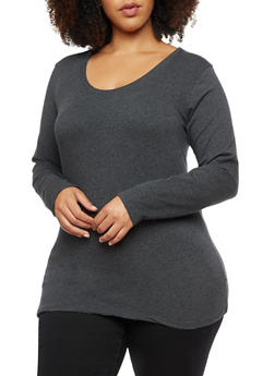 Plus Size Long Sleeve Basic Top - 3917054260060
