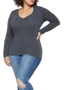 Plus Size Basic V Neck Tee - 3917054260072