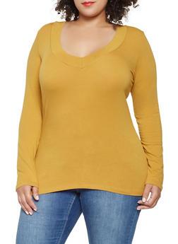 Plus Size Basic V Neck Tee - 3917054260072