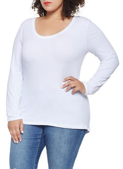 Plus Size Long Sleeve Scoop Neck Tee - 3917054260076