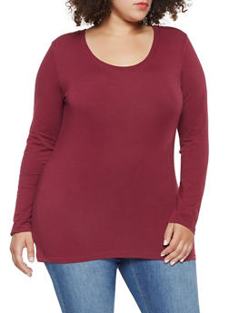 Plus Size Long Sleeve Scoop Neck Tee - 3917054260076