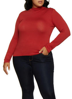 Plus Size Mock Neck Long Sleeve Top - 3917054261660