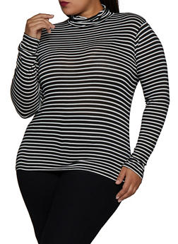 Plus Size Striped Turtleneck Top - 3917054261745
