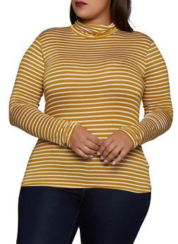 Plus Size Striped Turtleneck Top - 3917054261745
