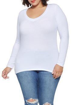 Plus Size Basic V Neck Tee - 3917054262900