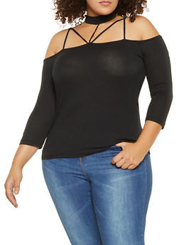 Plus Size Caged Choker Neck Top - 3917054264771