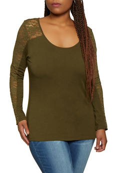 Plus Size Lace Yoke Scoop Neck Top - 3917054266389