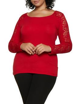Plus Size Lace Yoke Scoop Neck Top - 3917054266389