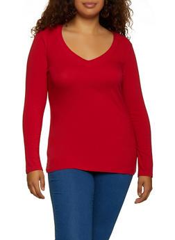 Plus Size Long Sleeve V Neck Tee - 3917054266699