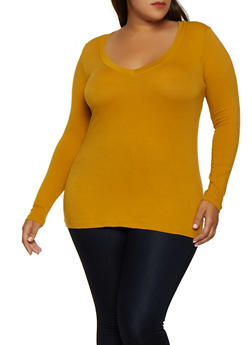 Plus Size Long Sleeve V Neck Tee - 3917054266699