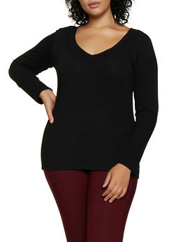 Plus Size V Neck Solid Tee - 3917054267200