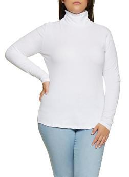 Plus Size Long Sleeve Turtleneck Tee - 3917054267226