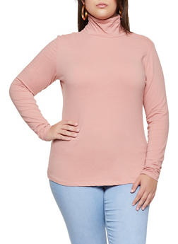 Plus Size Long Sleeve Turtleneck Tee - 3917054267226