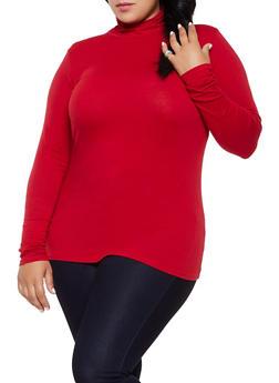 Plus Size Long Sleeve Mock Neck Tee - 3917054267226