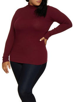 Plus Size Long Sleeve Mock Neck Tee - 3917054267226