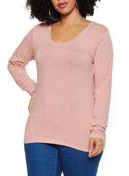 Plus Size Scoop Neck Solid Tee - 3917054267766