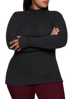 Plus Size Rib Knit Turtleneck Sweater - 3917054267934