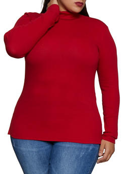 Plus Size Rib Knit Turtleneck Sweater - 3917054267934
