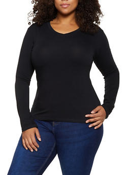 Plus Size V Neck Top - 3917062702081