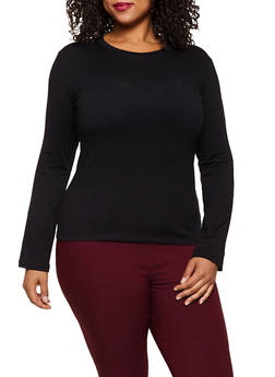 Plus Size Long Sleeve Crew Neck Tee - 3917062702083