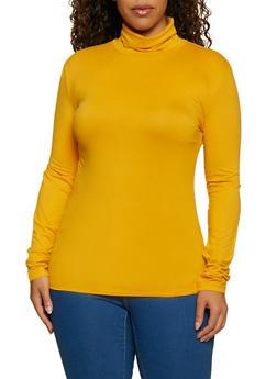 Plus Size Soft Knit Turtleneck Top - 3917062702783