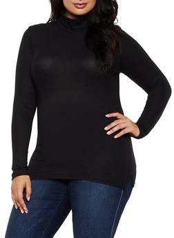 Plus Size Ribbed Turtleneck Top - 3917062702895