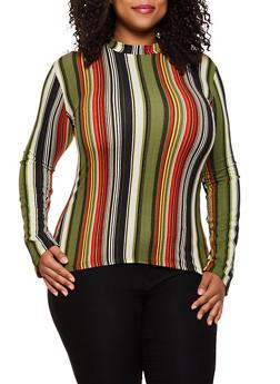 Plus Size Striped Soft Knit Top   3917062702985 - 3917062702985