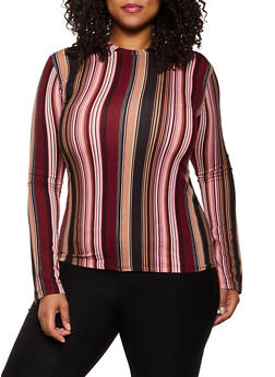 Plus Size Striped Soft Knit Top | 3917062702985 - 3917062702985