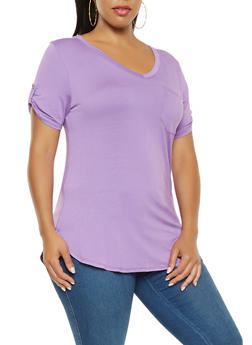 Plus Size Basic Round Hem Tee - 3917074280071