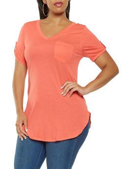 Plus Size Basic Round Hem Tee - 3917074280071